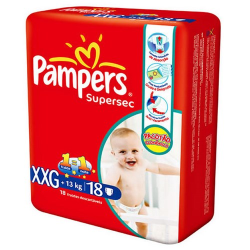 Fralda Pampers Supersec XXG - 18 unidades