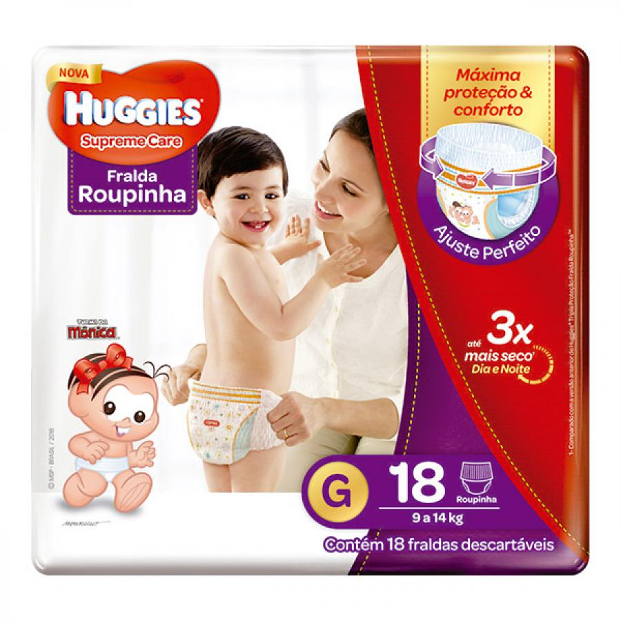 FR HUGGIES SUPREME CARE ROUPINHA G C/18UN